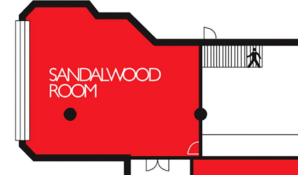 Etagenplan des Tagungsraums Sandalwood