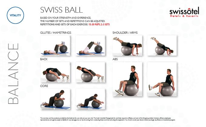 بطاقة تمارين توازن الكرة السويسرية